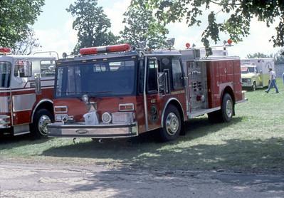 1984  MONROE FIRE SCHOOL  FRANKLIN PARK FD  ENGINE 477  E-ONE HURRICANE   DS PHOTO