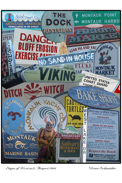 A Photoshop collage of Montauk New York's signage, by Glenn Schneider, 2004
