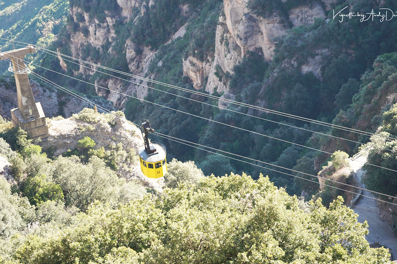 Multiple ways to get to the mountains of Montserrat including a train, a funicular and this ropeway!
