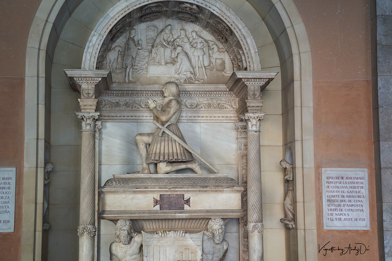 Bust dedicated to King John D'Arragon who rules Catalunya paying obeisance to the Divine!