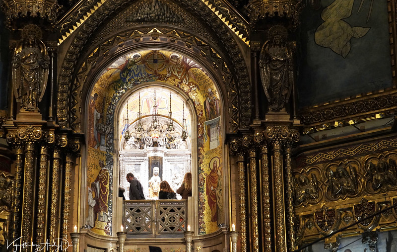 The opulent sanctum sanctorum of the Church of St. Mary of Montserrat in honor of their LE MORENETA, who is revered by pilgrims from near and afar!<br /> Manage