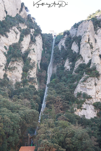 The Funicular that goes right up the mountain for a spectacular, bird's eye view of Catalunya!