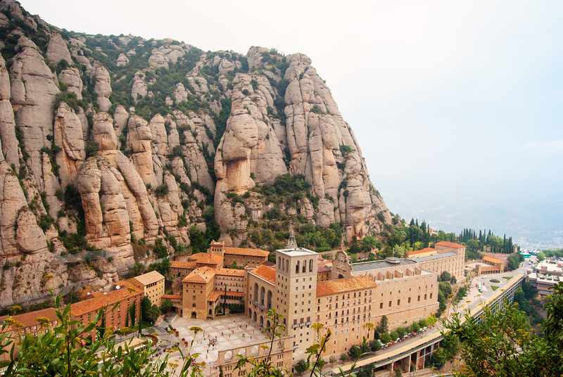 A Panoramic perspective of the Basilica de Montserrat that truly takes your breath away!