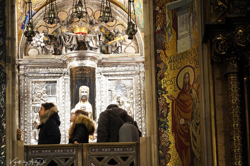 "The Sanctum Sanctorum in honor and reverence to the 'BLACK MADONNA' aka ST. MARY of MONTSERRAT, affectionately called ''LA MORENETA' (""The Little Black One"") in Spanish by the locals who adore and worship her with faith and devotion!"