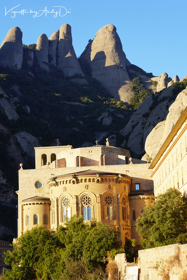The Benedictine monastery up close and personal on a cold sunny day in the Mountains of Montserrat!