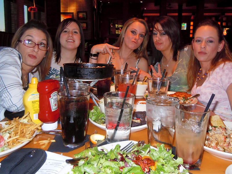 COURTNEY A, REAGAN M, SAMMI KAY H, HEATHER W, JENNIFER W<br /> Some of my favorite SBs at BJ's ... With an Attitude ☻ ... Looking fine ... eating whatever they want ... I'm eating salad & drinking water ☺ <br /> 2011-01