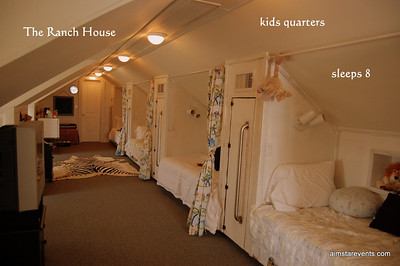 The Ranch House 3rd-Story Private Kids Quarters comes complete with TV/DVD Player/Karaoke Machine/Musical Instruments/Mini-Kitchenette & Secret Kids-Only Hideaway Rooms. A Kids Paradise!!