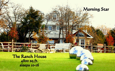"The Ranch House - the Owner's part-time residence - is Morning Star's most luxurious accommodations. This 4800 sq.ft 3-story ranch house can easily accommodate 3 families with ample room for entertaining & relaxation. This magnificently designed & decorated home contains 3 exquisite bedrooms (including a Master Suite with a private kitchen, spacious sitting room & outdoor ""coffee deck""  with views of the Main Lawn, The Lake and the owner's Sculpture Garden), 6 bathrooms & a 3rd-Story Kids Quarters complete with TV/DVD Player/Karaoke Machine/Musical Instruments/Mini-Kitchenette & Secret Kids-Only Hideaway Rooms. This magnificent residence is only available on a limited basis so inquire soon for bookings. Amey@aimstarevents.com/619-318-9292"