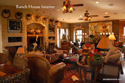 The Ranch House Family Room is ornate, grand & very cozy, making it the perfect setting for entertaining or relaxing with family & friends. Complete with Direct TV, DVD's, Surround Sound, Oversized Fire-Place, Wet Bar, Wine Fridge, Ice Maker, His & Her Bathrooms, Board Games & Game Table.