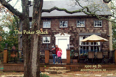 "The Poker Shack - my family's favorite Guest House. This secluded and handcrafted 2300sq. ft. private ""shack"" was constructed inside and out of all recycled & used building material making it a ""Green House"" long before it was cool to be ""Green"". This 3Bedroom/2Bath spacious Guest House can comfortably accommodate 2 families and comes complete with a fully-equipped kitchen, wood burning fireplace, Direct TV/DVD, wet bar, outdoor fire stand and wrap around decks with ample seating areas and professional grade grill/bbq facilities built out of limestone blocks and handcut marble & granite tiles."