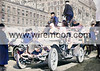The French De Dion-Bouton with Bourcier de St. Chaffrey, driver and mechanics Alphonse Autran and Hans Hendrik Hansen aboard lined up at the start in New York, 12 February 1908.1908 New York to Paris Race.