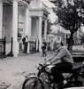 FMB42B, my Honda CB160, outside where I lived in Gloucester Road, South Kensington - note I am wearing the standard 1968-style safety equipment - no helmet (only worn when raining to keep hair dry), no gloves, slip-on shoes and pleated flared trousers - I survived numerous accidents wearing gear just such as this!