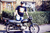 FVE941W has now had slogans added. This was my work bike and the kids at the school where I taught loved it. It said 'This Way Up' on the tank and the front mudguard - I had some difficulty remembering that! - and that was their favourite, 08/88. Note Dokken T-shirt - I hear you say 'Who?' I later used it as field bike for my kids - it was really decrepit by then - and sold to their schoolmate for £50. My son-in-law-to-be then stole it, stripped it and dumped the remains in the river.