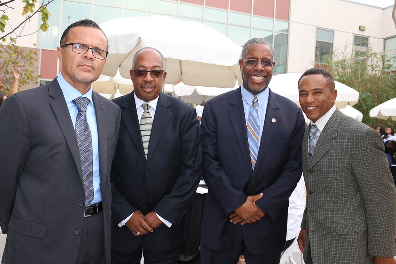 Dr. Rigoberto Roman, Ed.D., Principal, Compton High School;  Stephen Franklin, Principal, Dominguez High School; Douglas Charles Brown, Principal of Operations, Centennial High School and Christopher Calvin, Director of CTE, ROP and Adult Education.