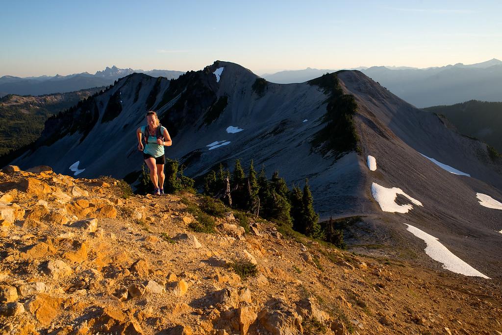 Senja Palonen runs the Saddle Ridge Trail above Elfin Lakes, Garibaldi Provincial Park. Squamish, British Columbia