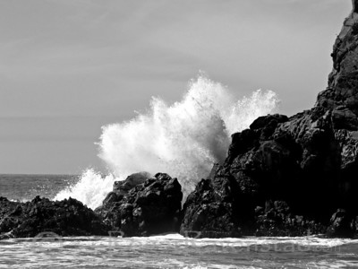 Crash Big Sur Image I.D. #:  V-05-002  Are you looking for more Black and White images? Look HERE for all Black and White work.