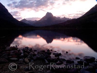 Sunset at Swiftcurrent Lake  Image I.D.:  #M-08-020