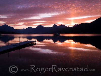 Sunrise at Lake McDonald  Image I.D. #:  V-08-019