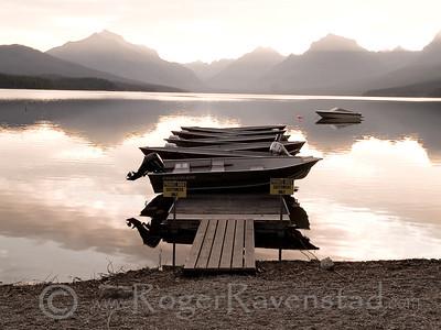 Boats at Lake McDonald Image I.D. #:  M-08-006