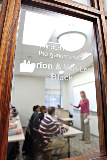 NAMING OPPORTUNITIES: Faculty and students alike enjoy the bright new facilities such as the Marion and Van-Lear Black classroom on the <br /> second floor.