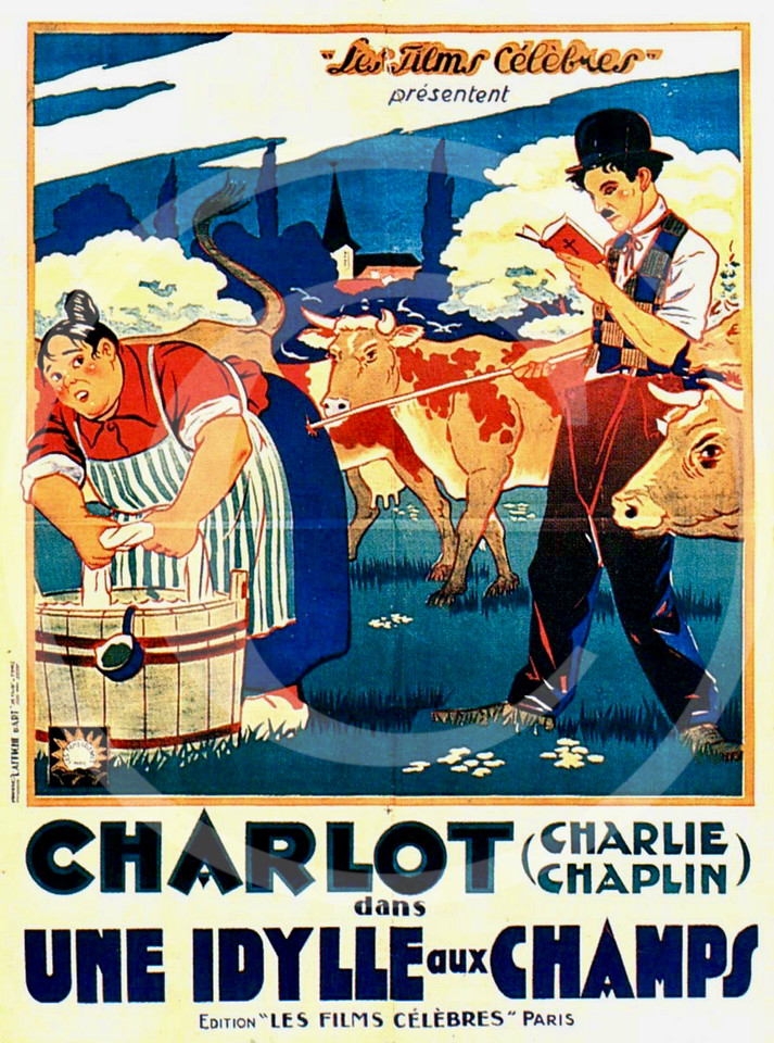 Charlie Chaplin Movie Poster,  Sunnyside in a French re-issue as Une idylle aux champs 15 June 1919