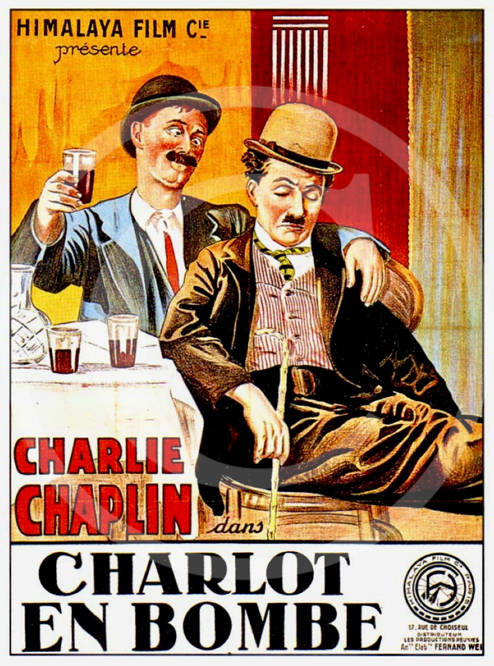 Charlie Chaplin Movie Poster,  A Night Out in a French re-issue as Charlot en bombe 15 February 1915