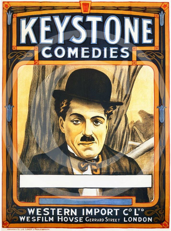 Charlie Chaplin Movie Poster, Keystone Comedies 1914