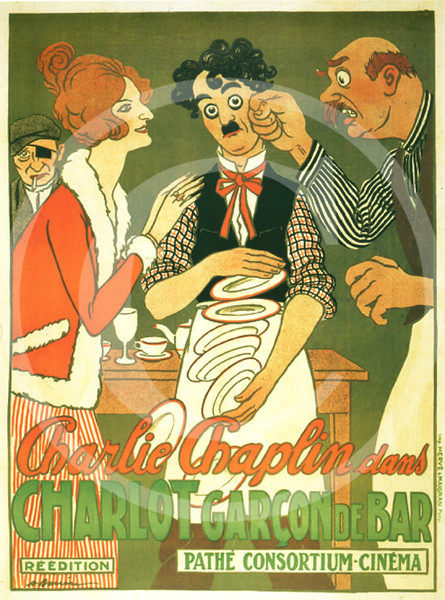 Charlie Chaplin Movie Poster, Caught in a Cabaret in a French re-issue as Charlot Garcon de Bar 1914
