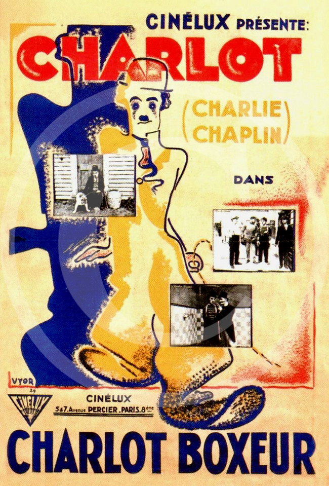 Charlie Chaplin Movie Poster, The Champion in a French re-issue as Charlot boxeur 11 March 1915