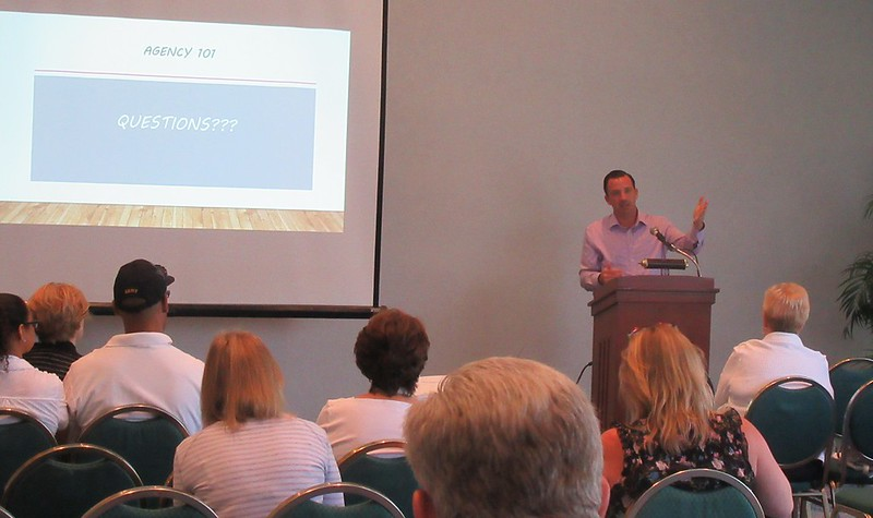 """Jeff Baker addresses questions following a session of """"Summer School: Agency 101."""""""