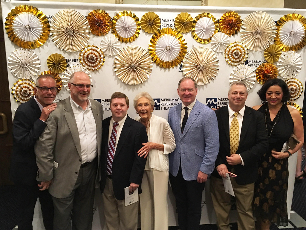 . From left, David Vaillancourt, MRT board President Don Bedard, Philip Donahue, MRT Chair Nancy L. Donahue, Michael Conway and John Montbleau, all of Lowell, and Effie Dragon of Tewksbury