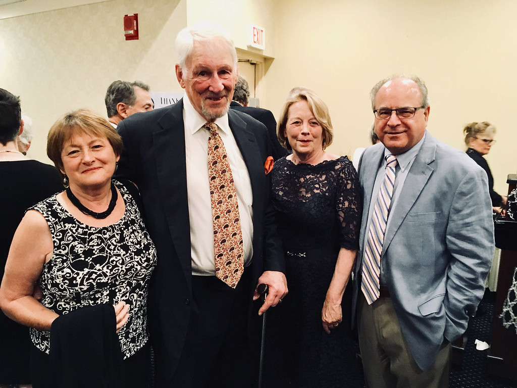 . From left, Mary Lee Harrington, Jim O�Brien, honoree U.S. Rep, Niki Tsongas, and Sun Editor Jim Campanini, all of Lowell