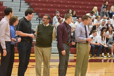 Alma College's 2015-16 players and coaches were awarded championship rings Friday night for winning the men's basketball program's first-ever MIAA title last season. Sun Photos by Nate Schneider.