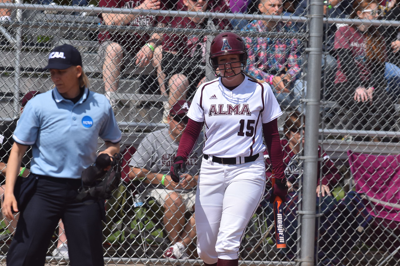 The Alma College softball team lost 2-1 in 10 innings Friday, May 13, 2016, to Benedictine in the NCAA Division III Softball Regionals. Sun Photos by Nate Schneider.