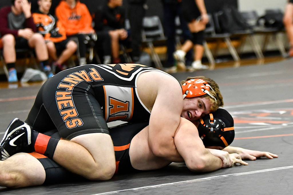 . Alma beat Chesaning and Charlotte in a quadrangular meet at home on Parents� Night Wednesday, Jan. 31, 2018. (Sun photo gallery by Skip Traynor)