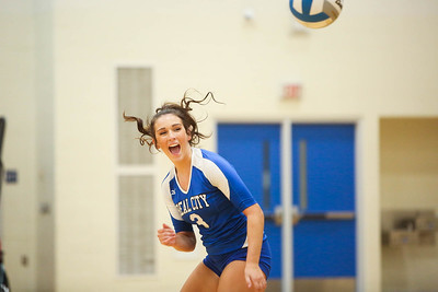 Beal City's Jordyn Fillenworth (3) celebrates shortly after Beal City scores a point against Hemlock for the District Title Friday, Nov. 2, 2018. Beal City advanced after sweeping Hemlock in three games.  (PHOTOS BY KEN KADWELL--FOR MORNINGSUN.COM).