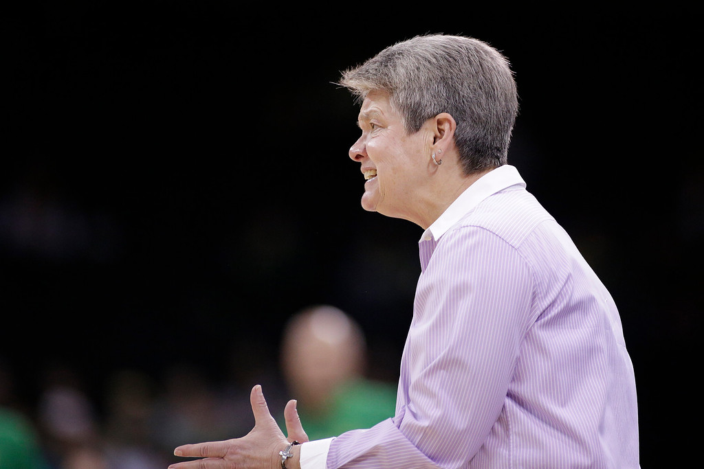 . Central Michigan head coach Sue Guevara speaks to her team during the first half in a regional semifinal at the NCAA women\'s college basketball tournament against Oregon, Saturday, March 24, 2018, Spokane, Wash. (AP Photo/Young Kwak)