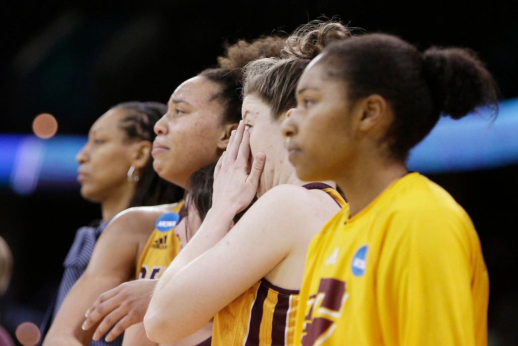 . Central Michigan players react towards the end of second half in a regional semifinal at the NCAA women\'s college basketball tournament against Oregon, which Oregon won 83-69, Saturday, March 24, 2018, Spokane, Wash. (AP Photo/Young Kwak)