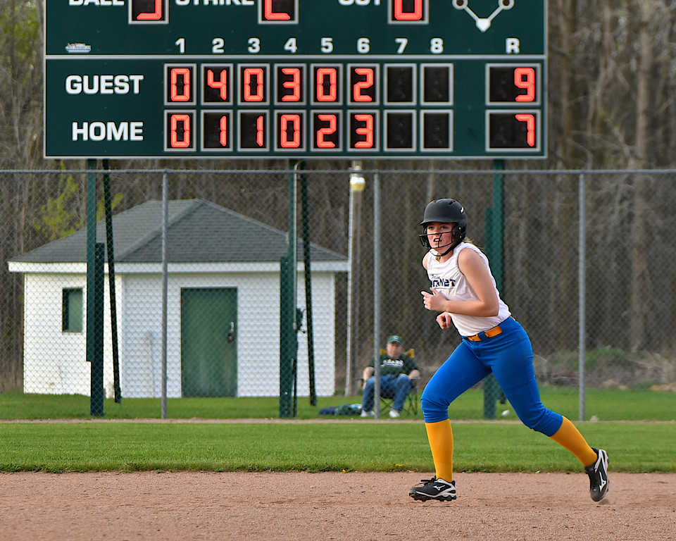. Clare swept a doubleheader from Harrison at the Pioneers\' field Tuesday, May 8, 2018. (Sun photo gallery by Skip Traynor)
