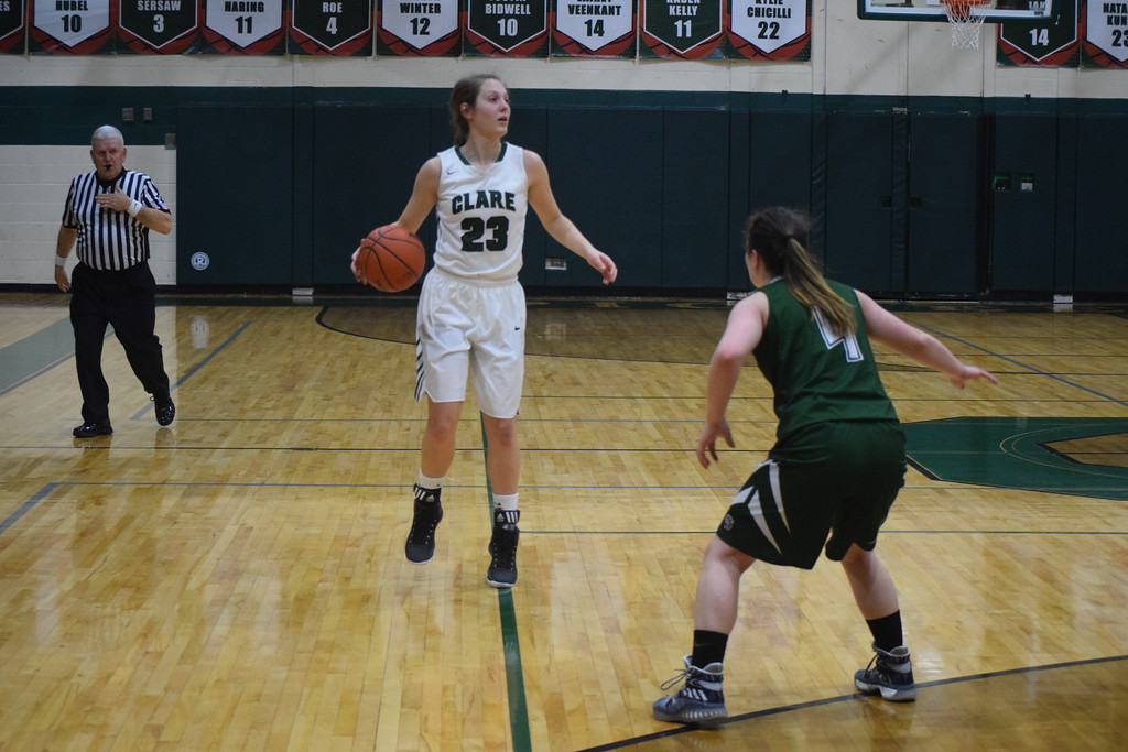 . Clare\'s Natalee Kunse became the fifth player in program history to reach the 1,000-point plateau Tuesday as she scored 20 points in a 56-28 win over LeRoy Pine River. (Sun Photos by JIM LAHDE)
