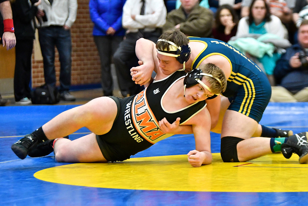 . Alma defeated Ithaca and Portland to win the MHSAA Division III District 182 Wrestling Championship at Ithaca Wednesday, Feb. 7, 2018. (Sun photo gallery by Skip Traynor)