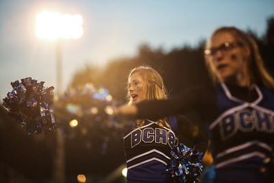 Beal City cheerleaders lead the crowd in a cheer as they play Clare Friday, Sept. 1, 2017. Final 41-0 Clare. (PHOTOS BY KEN KADWELL -- FOR MORNINGSUN.COM).