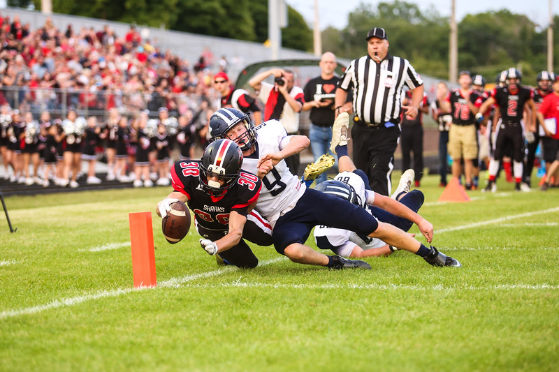 St. Louis' Dylan Weller (30) dives towards the end zone just shy of a touchdown Friday, September 16, 2016.(PHOTOS BY KEN KADWELL -- FOR MIPREPZONE.COM).