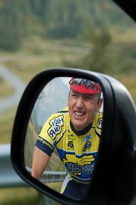 Former pro cyclists Franky Van Haesbroucke talks to driver about upcoming route concerns @2006 Deirdre Moynihan (dmoynihan.smugmug.com )