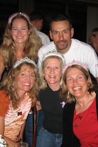 "A variety of awards were given each night at the group dinners, and this night, top fundraisers were honored.  Here, Larry poses with the ""fundraising princesses"": Patty Columbus (CA), Karen Hudak (TX), mwah, and Pat Perry (TX)."