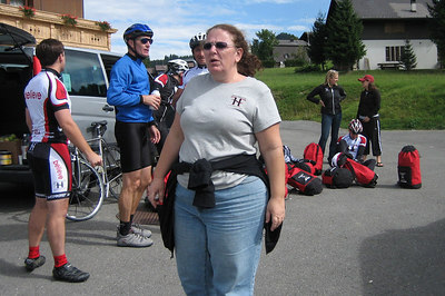 Deirdre makes sure we're all in once piece at one of the rest stops.