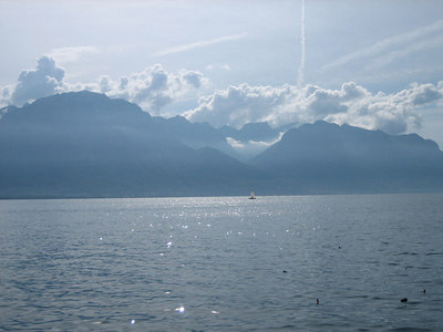 Back in Montreaux after the ride, this is the view across the lake that greeted us.