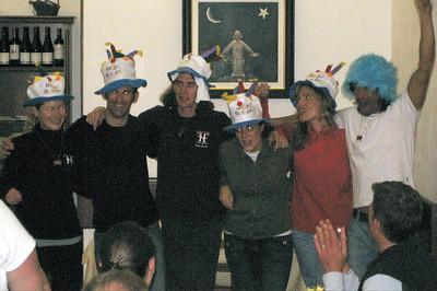 Yikes, bad quality pic -- their eyes weren't really glowing, but they were having fun.  Tonight at dinner, Deirdre honored everyone who would have a birthday during the MS Global: (from l to r) Patty, ride leader Pat Bush (CA), Mark, Natalie, Karen, and Jorge.  Deirdre likes hats.