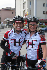 At another rest stop, 'lil Hudie and I pose for the camera. Karen Hudak is from Houston and was one of the six riders who has MS.  She's as amazing as she looks here.