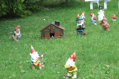 On the way up Col de Mosse, we spotted all these lawn gnomes near the road, doing all kinds of things...